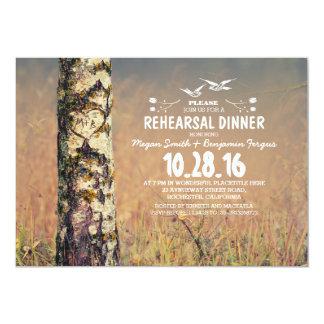 Árvore de vidoeiro & jantar de ensaio rústico do convites personalizado