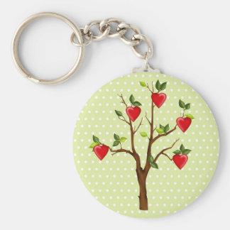 Árvore do amor com corações chaveiro