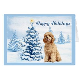 Árvore do azul do cartão de Natal da caniche