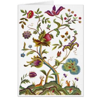 Árvore do bordado Jacobean da vida Cartão
