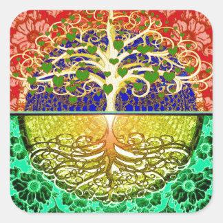 Árvore do coração da vida adesivo quadrado