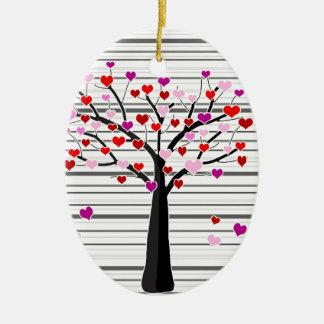 Árvore do dia dos namorados ornamento de cerâmica oval