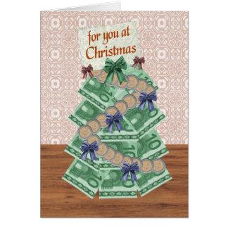 Árvore do dinheiro do Natal euro- Cartão