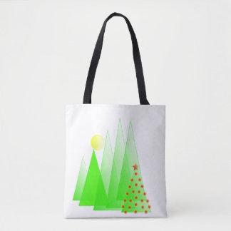 Árvore do Feliz Natal com a sacola do vetor das Bolsas Tote