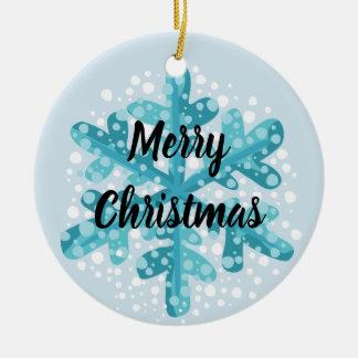 Árvore do Feliz Natal do floco de neve e ornamento