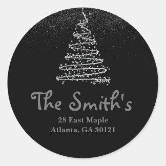 Árvore do feriado/Natal da prata da etiqueta de Adesivo
