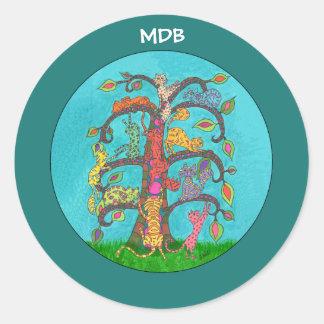 Árvore do gato do monograma do costume da vida adesivo redondo