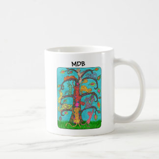 Árvore do gato do monograma do costume da vida caneca de café