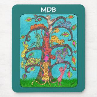 Árvore do gato do monograma do costume da vida mouse pad