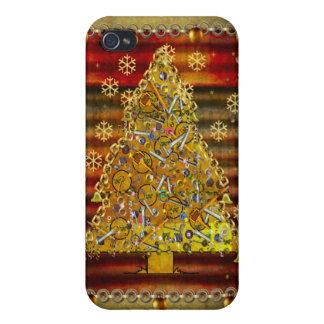Árvore do metal do Natal iPhone 4 Capa