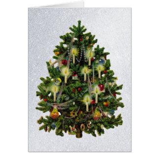 árvore do natal vintage com cartão das velas