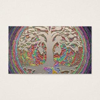 Árvore do ouro com Butterly Cartão De Visitas