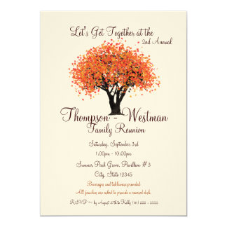Árvore do outono da reunião de família convite 12.7 x 17.78cm
