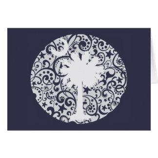 Árvore do Palmetto e cartão de Natal da lua