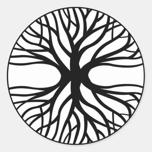 Árvore do tatuagem da vida adesivos em formato redondos