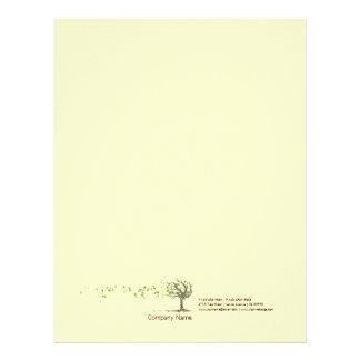 Árvore do vento do zen com cabeçalho amarelo das papel timbrado