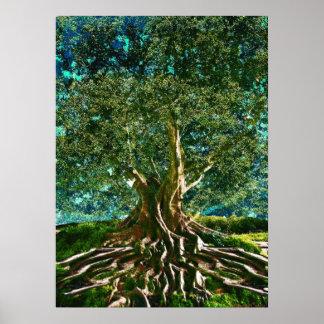Árvore do verde da vida pôster