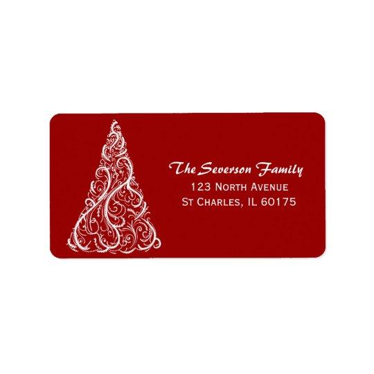 Árvore do White Christmas no endereço do remetente Etiqueta De Endereço