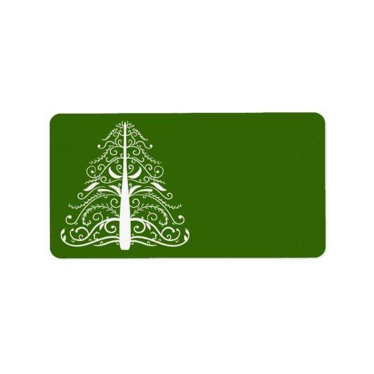 Árvore do White Christmas no verde Etiqueta De Endereço