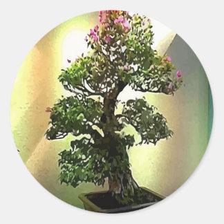 Árvore dos bonsais do Bougainvillea Adesivos Em Formato Redondos