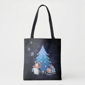 Árvore e pinguim de Natal que trazem presentes Bolsa Tote
