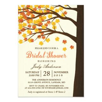 Árvore elegante do outono das folhas de bordo do convite 12.7 x 17.78cm