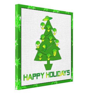 Árvore estrangeira do feriado impressão de canvas esticada