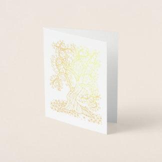 Árvore fantástica dos corações da floresta cartão metalizado