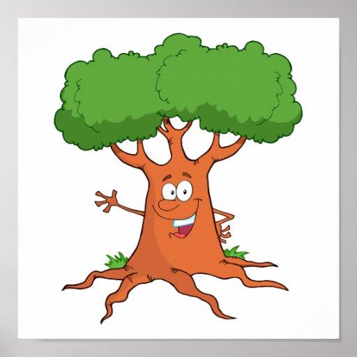 árvore Feliz Dos Desenhos Animados Pôster