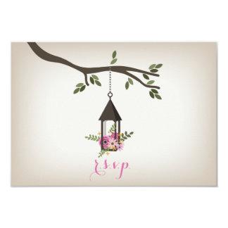 Árvore floral cor-de-rosa da lanterna que Wedding Convite 8.89 X 12.7cm