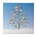 Árvore invernal dos cupcakes azulejo quadrado pequeno