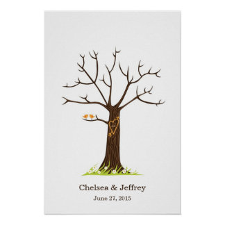 Árvore lunática da impressão digital com poster