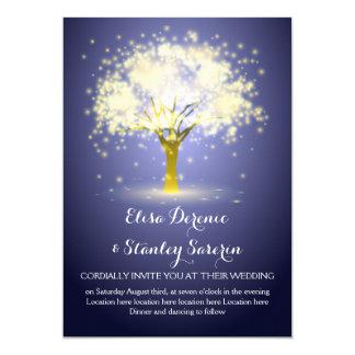 Árvore mágica, casamento azul sparkling das luzes convite 12.7 x 17.78cm