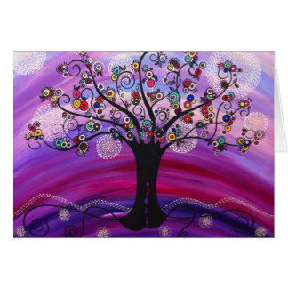 """""""Árvore"""" no cartão de nota violeta por"""