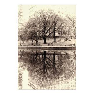 Árvore preta & branca do inverno da paisagem - Cen Impressão De Foto
