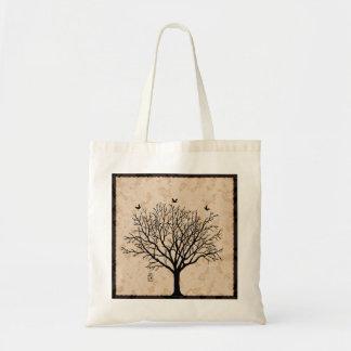 Árvore preta desencapada do vintage bolsa tote
