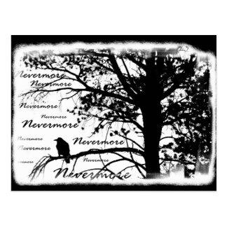 Árvore preta & do branco nunca mais do corvo da cartão postal