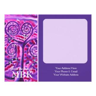 Árvore roxa pouca pintura acrílica dos corações de papéis de carta personalizados