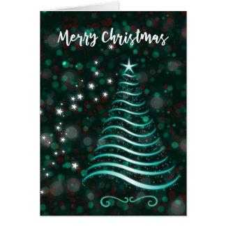 Árvore Sparkling do Feliz Natal em Bokeh Cartão