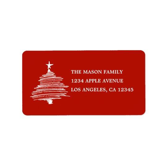 Árvore tirada mão etiqueta de endereço