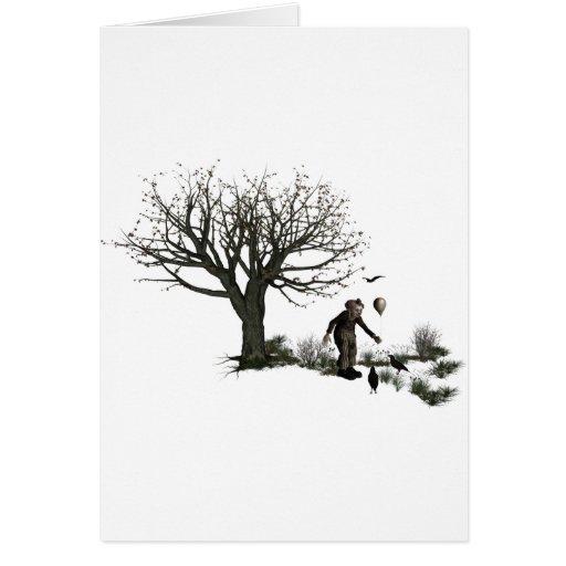 Árvore velha do palhaço do balão & pássaros pretos cartões