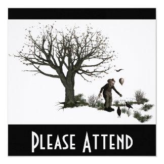 Árvore velha do palhaço do balão & pássaros pretos convite quadrado 13.35 x 13.35cm