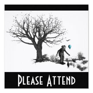 Árvore velha do palhaço do balão & turquesa preta convite quadrado 13.35 x 13.35cm