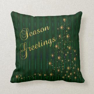 Árvore verde escuro e do ouro da estrela de Natal Almofada