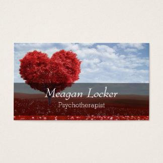 Árvore vermelha do coração da psicologia cartão de visitas