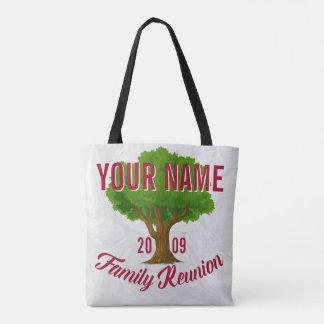 Árvore vívida reunião de família personalizada bolsas tote