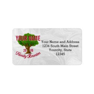 Árvore vívida reunião de família personalizada etiqueta de endereço