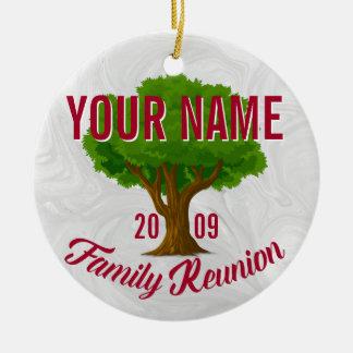 Árvore vívida reunião de família personalizada ornamento de cerâmica redondo