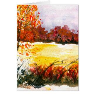 Árvores abstratas do outono da arte da paisagem da cartão