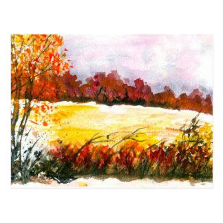 Árvores abstratas do outono da arte da paisagem da cartão postal